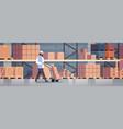 delivery man rolling cardboard box cargo trolley vector image vector image