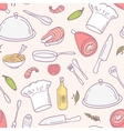 Doodle food seamless pattern in Culinary vector image