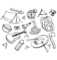 doodle set adventure vector image