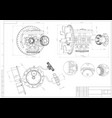 drawing and 3d model gear mechanism on a white vector image vector image
