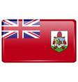 Flags Bermuda in the form of a magnet on vector image vector image