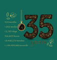 floral card number thirty five and pocket watch vector image vector image