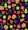 Fruit pattern on Black background vector image vector image