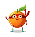 funny superhero humanized orange in a red mask and vector image vector image