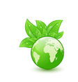 Global planet and eco green leaves isolated on vector image vector image
