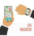 gps navigation on smartphone vector image vector image