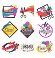 grand opening isolated icons ribbon and scissors vector image vector image
