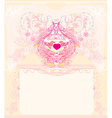 greeting card with 2 sweet love birds - wedding vector image vector image