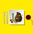 grilled beef steak served on plate with red wine vector image vector image