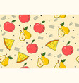 hand drawn seamless pattern with various fruits vector image