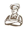 happy chef logo restaurant cooking cuisine vector image vector image