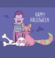 happy halloween celebration boy dracula cat skull vector image vector image