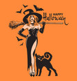 happy halloween hand drawn text beautiful sexy vector image
