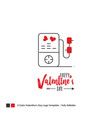 happy valentines day card lettering background vector image