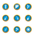 harp icons set flat style vector image