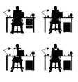 man silhouette set with laptop and desk part two vector image vector image