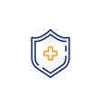 medicine shield line icon medical protection sign vector image