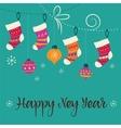 Merry Christmas - Xmas socks greeting card vector image vector image