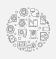 mobile app development round concept vector image vector image