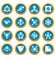 molecule icons blue circle set vector image vector image