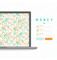 money concept with thin line icons vector image vector image