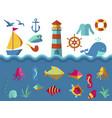 nautical animal elements wave ocean sea blue vector image vector image