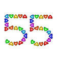number 55 fifty five of colorful hearts on white vector image