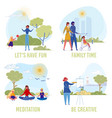 people lead healthy active and creative lifestyle vector image vector image