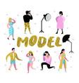 photo studio characters set with photographer vector image
