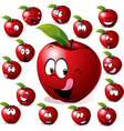 red apple with many expressions vector image vector image