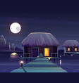 rich hotel on piles at night vector image vector image