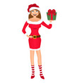 santa girl with christmas gift isolated on white vector image vector image