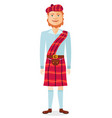 scottish man in kilt in national clothes flat vector image vector image