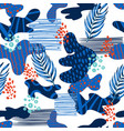 seamless abstract pattern with tropical leaves vector image