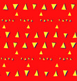 seamless pattern with glitch triangles on red vector image vector image