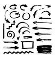 set of different hand drawn grunge brush strokes vector image vector image
