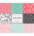 set seamless stroke patterns hand-drawn vector image vector image