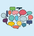 set speech bubbles drawn vector image