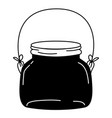 silhouette small and wide mason glass with wire vector image vector image