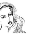 sketch beautiful women face like drawn coal vector image vector image