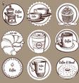 Sketch coffee labels vector image vector image