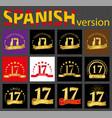 spanish set of number seventeen 17 years
