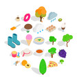 street cafe icons set isometric style vector image vector image