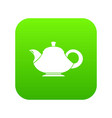 teapot icon digital green vector image