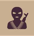 terrorist in balaclava mask icon vector image vector image