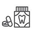 toothache painkiller tablets line icon vector image vector image