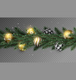 transparent christmas garland with gold ornaments vector image vector image