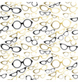 Vintage hipster glasses seamless pattern gold vector image