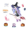 watercolor magic set witches for halloween vector image vector image