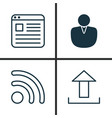 web icons set collection of wifi send data vector image vector image